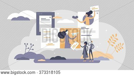 Marketing Pop-up Advertisement Flat Tiny Person Concept Vector Illustration. Online Web Page Present