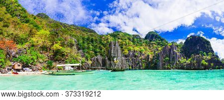 Tropical nature and  exotic wild beauty of unique Palawan island. Magical El Nido. Philippines, island hopping