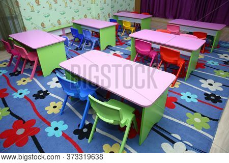 Children\'s Furniture And Toys In Kindergarten . Empty Tables . Refectory Of A School For Children W