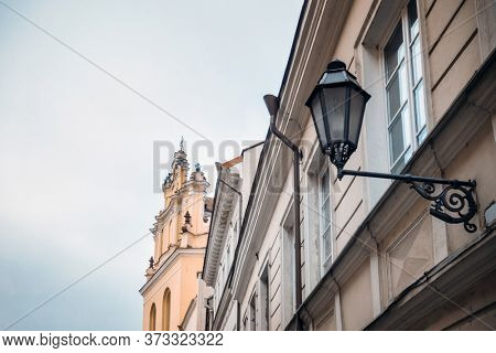 Antique building view in Vilnius, Lithuanian