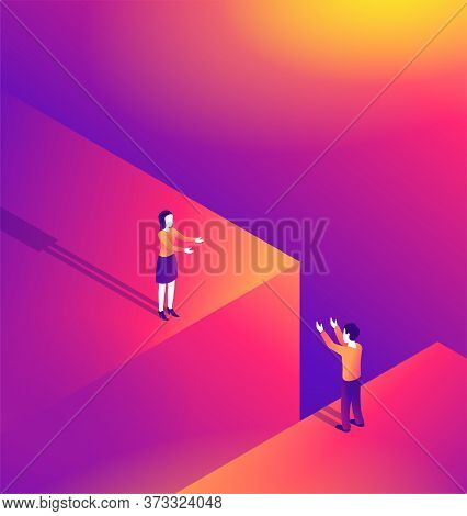 Complexity Of Distant Romantic Relationship Isometric Illustration - Loving Couple (man And Woman) S