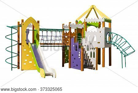 Game Complex With Slide And  Ladders. Equipment For Playground. Shadowless Isolated On White Backgro