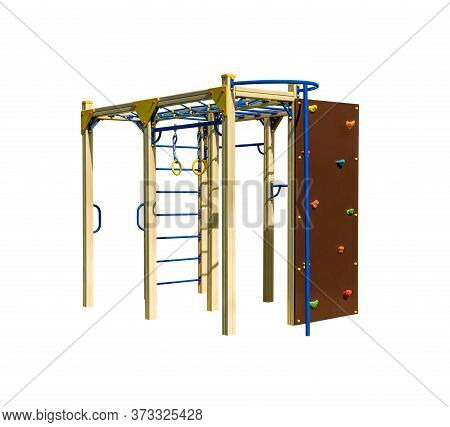 Game Complex With Monkey Bar And Board With Footrests For Playground. Gymnastic Equipment For Athlet