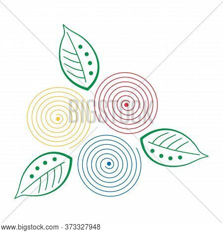 Abstract Colorful Spirals And Leaves. Vector Illustration. Design Concept On White Background. Red,