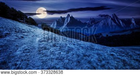 Composite Mountain Landscape At Night. Path Through Meadow. Distant Tatra Ridge In Full Moon Light.