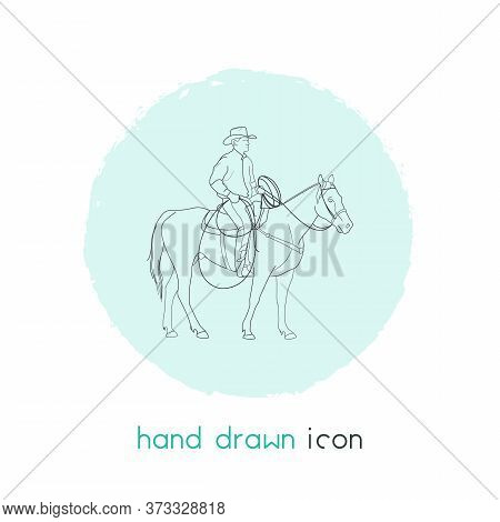 Cowboy On Horse Icon Line Element. Vector Illustration Of Cowboy On Horse Icon Line Isolated On Clea