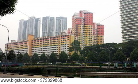 Country- Singapore, City- Singapore Date-11/06/2020 View Colorful Hdb Building With Background Of Co