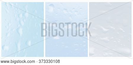 Simple Vector Layout With Rain Drops Flowing Down The Glass. Blue An Light Gray Water Drops. Wet Gla