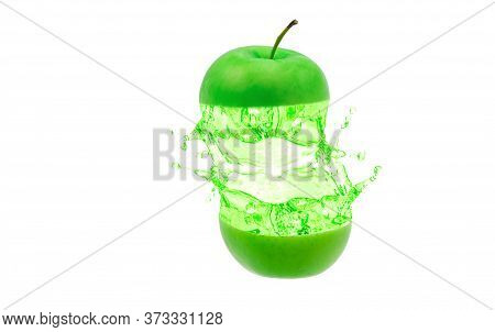 Green Apple Slices With Water Splashing Isolate On White