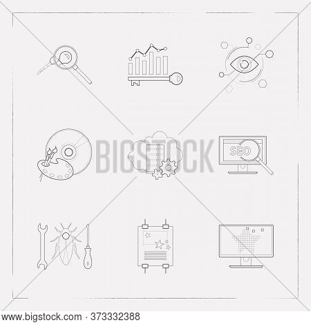 Set Of Webdesign Icons Line Style Symbols With Poster Design, Keyword Ranking, Seo And Other Icons F