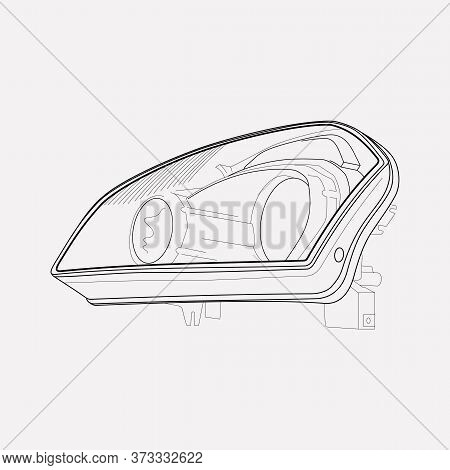 Headlights Icon Line Element. Illustration Of Headlights Icon Line Isolated On Clean Background For