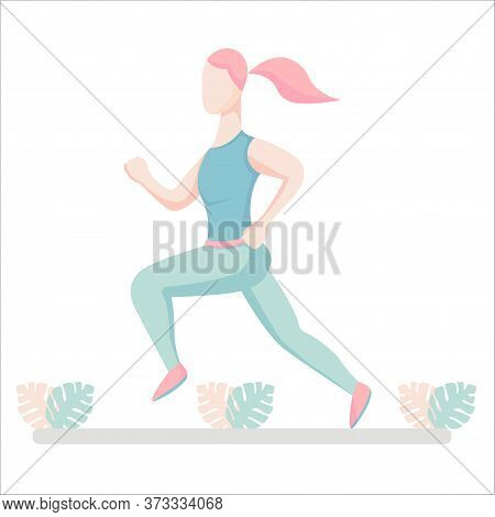 Running Girls In Profile Position. Womans In Sportswear Running Marathon, Flat Vector Illustration,