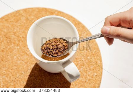 Brew Instant Coffee, Granulated Coffee In A Teaspoon, Have A Cup Of Coffee For Breakfast
