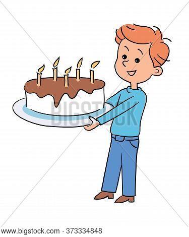 Cartoon Happy Smiling Child Cute Boy Holding Festive Birthday Cake Giant Cupcake Pie Decorated Choco