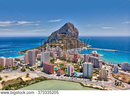 Aerial Photography Penyal D'ifac Natural Park, Calpe Townscape Turquoise Bright Mediterranean Sea Wa