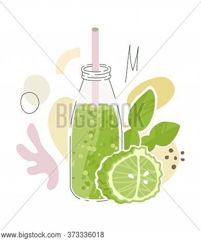 Kaffir Lime Juice In Glass Bottle With Straw. Vector Illustration With Cucumber And Abstract Shapes