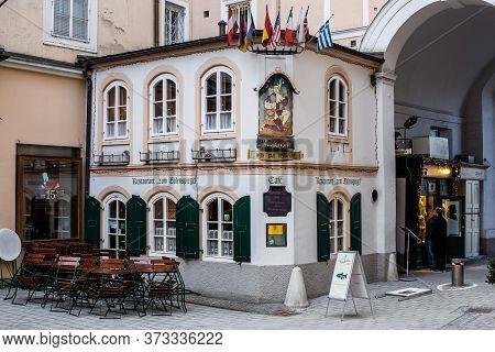 Salzburg, Austria - March 5, 2017: View Of Zum Eulenspiegel Restaurant Near Mozart\'s Birthplace In