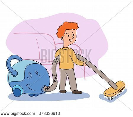 Happy Boy Helper Cleaning Living Room Carpet With Vacuum Cleaner. Home Service And Help In Housekeep