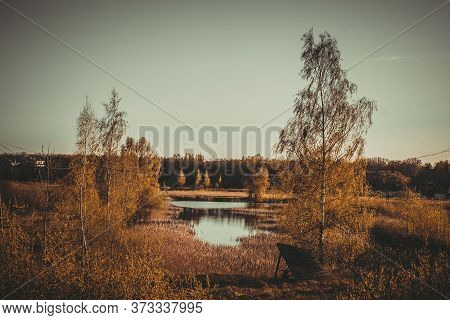 Beautiful Autumn Landscape With View Of Lake And Russian Birch Trees. Camping On The Weekend.recreat