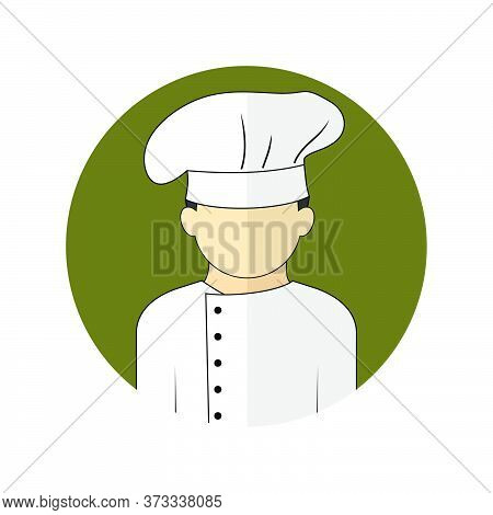 Vector Illustration Of The Chef Avatar Icon. Perfect Template For Chef Or Kitchen Design.