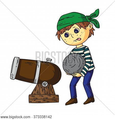 Cute Boy Pirate Charges Cannon With Huge Heavy Cannonball. Piracy Party. Funny Cartoon Child Charact