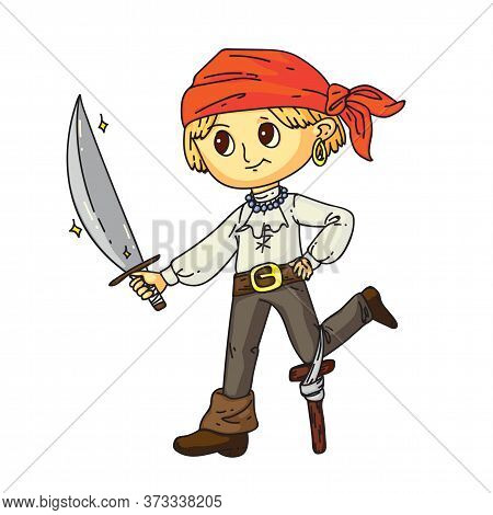 Little Boy Pirate With Sward In Hand, Earring In Ear Standing Isolated On White. One-legged Sailor C