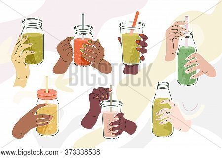Hands With Smoothies. Vector Illustration Set Of Diverse Female Hands With Jar Or Bottle Or Glass Fi