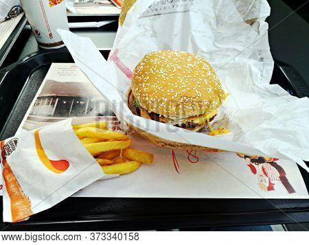 Bucharest, Romania - January 20, 2020: Whopper Menu With French Fries At Burger King Fast Food .