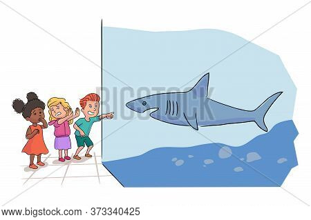 Afro-american And Caucasian Preschooler Kids Group Team Looking At Ocean Fishes Standing By Shark Aq