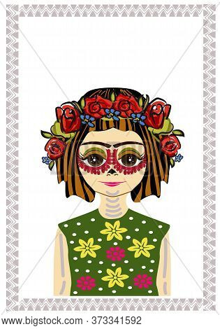 Young Mexican Girl With Painted Face For Carnival. Holiday Day Of The Dead. Portrait. Body Art. On T