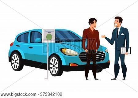 Dealer Manager Consulting Car Showroom Client Potential Buyer On White. Automobile Rent, Leasing Or