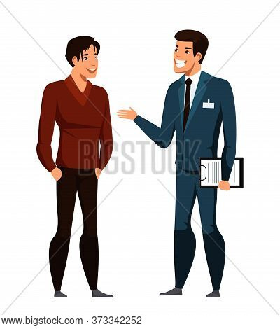 Dealer Agent Advises Customer Buyer. Cartoon People Character Stand Isolated On White. Seller, Shopp