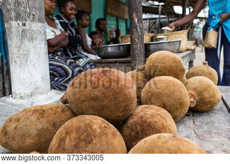 Andavadoaka, Madagascar - January 13th, 2019: Coconuts To Be Sold On The Local Street Market In Anda