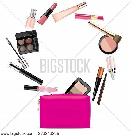 Vector Rose Beautician With Cosmetics Isolated On White Background