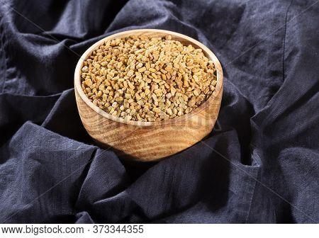 Trigonella Foenum - Graecum. Fenugreek Seeds. Top View