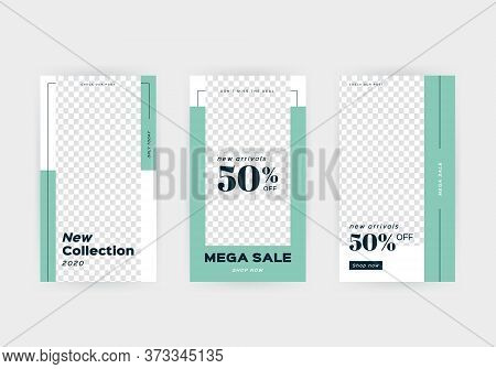 Set Of Creative Social Media Banners Stories For Online Shopping. Trendy Vector Sale And Discount Ba