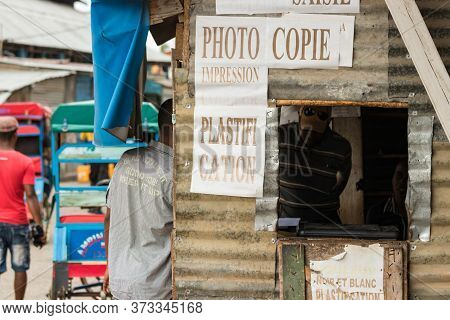 Toliara, Madagascar - January 10th, 2019: A Rustic Photocopy And Print Store At The City Center In T