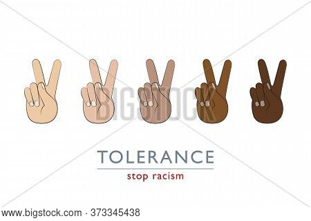 Stop Racism Peace And Tolerance Concept With Hands In Different Colors Vector Illustration Eps10