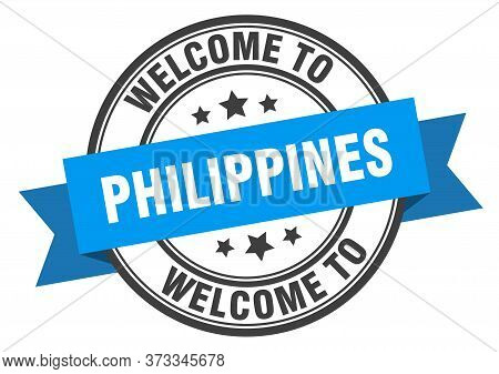 Philippines Stamp. Welcome To Philippines Blue Sign