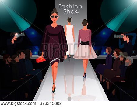 Models Showing New Clothes Trendy Outfit. Beautiful Women Walking On Catwalk. Fashion Trends Review