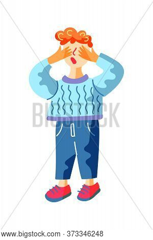 Little Boy With Eyes Closed Standing And Counting During Hide-and-sick Game. Playtime In Kindergarte