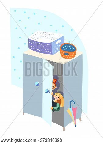 Children Quietly Hiding In Closet Play Hide-and-sick Game. Happy Kids Enjoying Fun In Kindergarten.