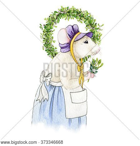 Christmas Watercolor Illustration Of A Mouse (or Rat), Decorating Home With A Mistletoe Wreath. Whit