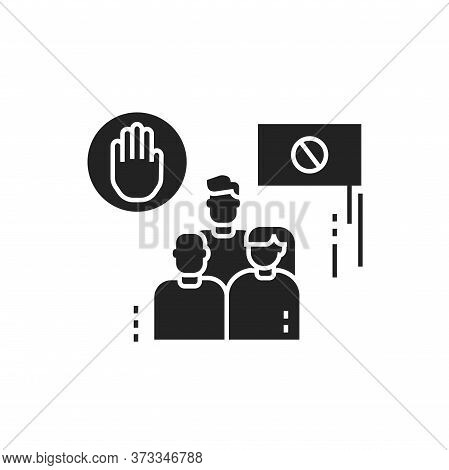 Boycott Glyph Black Icon. Group Of People Strike. Social Protest. Pictogram For Web Page, Mobile App