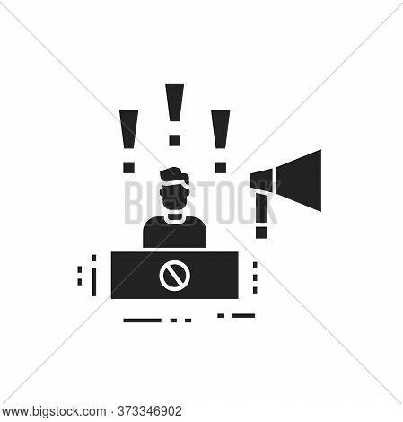 Protest Leader Glyph Black Icon. Speaker Promotes Social Protest. Public Speaking. Manifestations Of