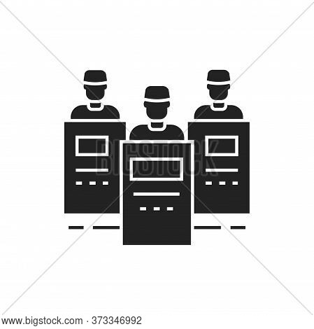 Riot Police Black Glyph Icon. Crowd Control. Law Enforcement. Pictogram For Web Page, Mobile App, Pr