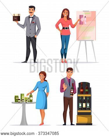 Man And Woman People Characters Presenting New Goods Cartoon Set. Food, Drinks, Cosmetics And Organi