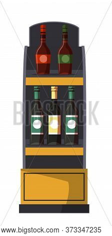 Shelves Wooden Rack Bar, Cafe And Cellar Isolated On White. Alcoholic Drinks In Different Glass Bott