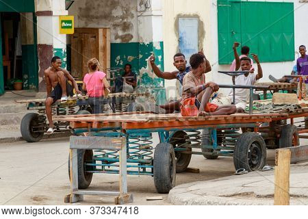 Toliara, Madagascar - January 10th, 2019: Construction Malagasy Workers Taking A Break In A Corner O