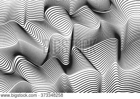 Black And White Technology Striped Pattern. Deformed Surface, Bw Strips. Abstract Squiggly Lines. Ve
